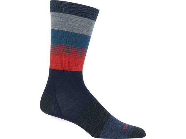 Icebreaker Lifestyle Gradient Stripe UL Crew Socks Men Fathom Heather/Prussian Blue/Chili Red